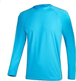QRANSS Long Sleeve Swim Tshirt for Men Rash Guard Atheletic Tee Skins UPF 50+