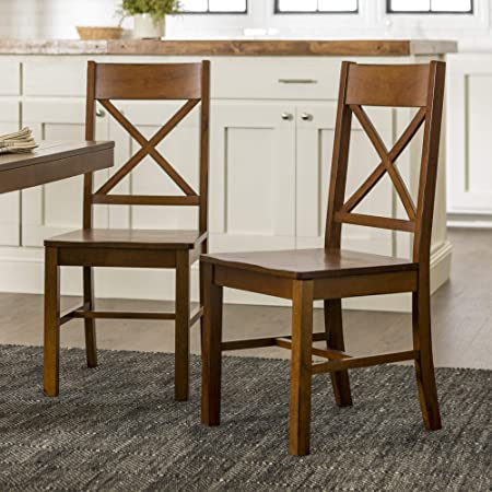 Amazon Com Walker Edison Furniture Solid Wood Farmhouse Dining Chairs X Back Armless Kitchen Chairs Set Of 2 Brown Chw2ab Furniture Decor