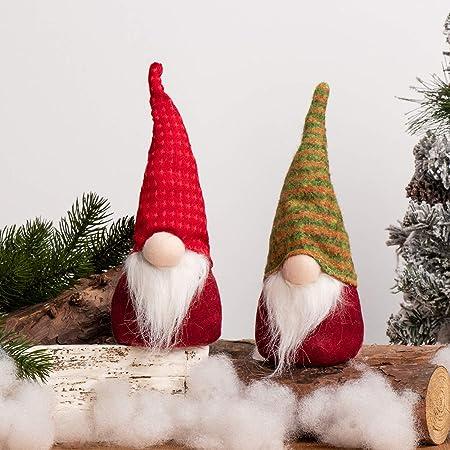 Holiday Gnome Swedish Tomte Thanks Giving Day Xmas Elf Decoration for Party Home Decor Babigo Handmade Gnome Plush Ornaments for Christmas Gray Hat White Beard, 10.7//3.2Inch