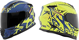 Speed and Strength SS1600 Critical Mass Adult Street Motorcycle Helmet - Matte Blue/Yellow/Black / 2X-Large