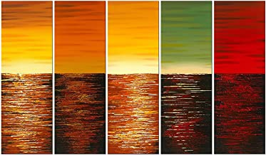Wieco Art Five Planets Large Modern 5 Piece Wrapped Abstract Landscape 100% Hand Painted Colorful Contemporary Ocean Sea Oil Paintings on Canvas Wall Art for Living Room Bedroom Home Decorations L