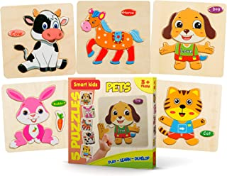 Smart Kids - Wooden Puzzles for Toddlers - 5 Pack - Baby Puzzles Age 3+ Toddlers Puzzles for Kids Boys and Girls - Pets Set - Cat - Dog - Horse - Rabbit - Cow - 48 pcs.