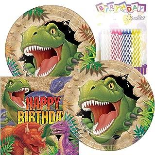 Dino Blast Dinosaur Theme Plates and Napkins Serves 16 With Birthday Candles
