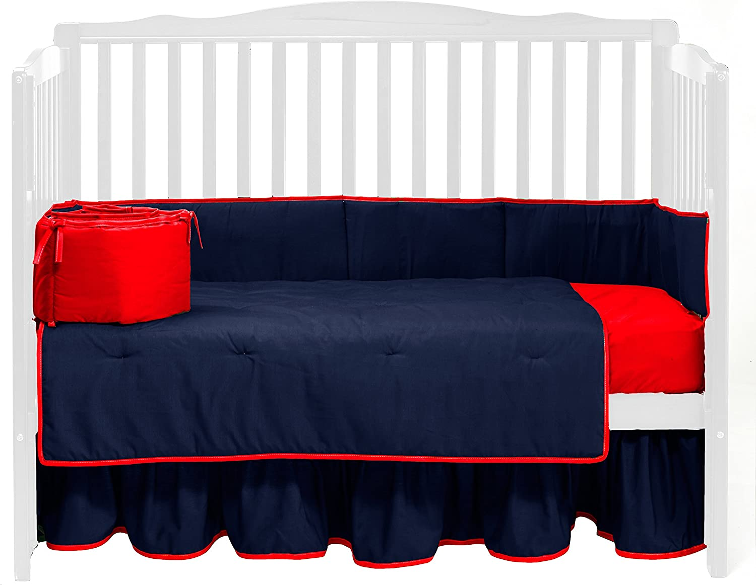 Baby Doll Bedding Solid Reversible Crib Bedding Set, Navy Red