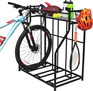 BirdRock Home 3 Bike Stand Rack with Storage – Metal Floor Bicycle Nook – Great for Parking Road, Mountain, Hybrid or Kids Bikes – Garage Organizer - Helmet - Sports Storage Station - Black