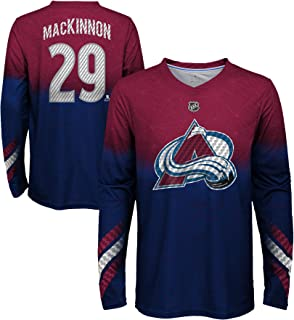 Outerstuff Youth Colorado Avalanche Nathan MacKinnon #29 Long Sleeve Name and Number Carbon T-Shirt