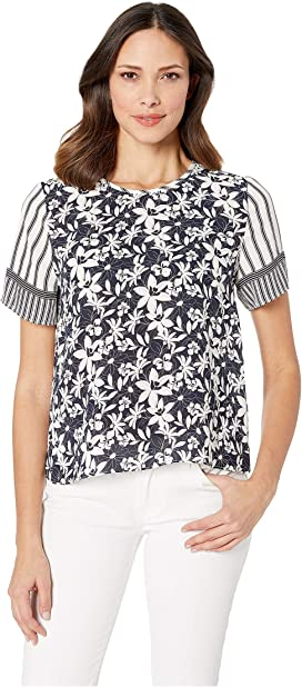 11797aa8534 CeCe 3 4 Ruffled Sleeve Floral Divine Knit Top at Zappos.com
