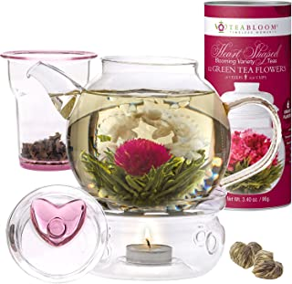 Teabloom Flowering Tea & Teapot Gift Set - 36 oz Glass Teapot, Heart-Topped Lid, Tea Warmer, Glass Loose Leaf Tea Infuser & Canister 12 Heart Shaped Blooming Teas - Gift Anniversary, Valentine
