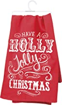 Primitives by Kathy Holly Jolly Dish Towel, Red/White, 28