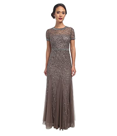 Adrianna Papell Cap Sleeve Fully Beaded Gown (Lead) Women