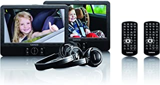 Lenco DVP 939 9 Zoll Tragbares DVD Player Set unabhängig ansteuerbar USB und SD/MMC Anschluss integrierter Akku Schwarz