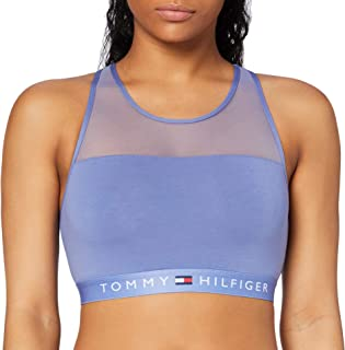 Tommy Hilfiger Sujetador Deportivo de Estilo Bralette de Algodón y Panel de Malla Rematado y Cuello Redondo para Mujer