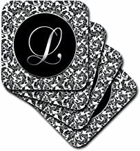 3dRose Letter L - Black and White Damask - Soft Coasters, Set of 8 (CST_38761_2)