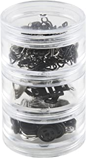 SINGER 07400 Fastener Variety-Pack in Stackable Screw Top Container - 48 Hook & Eyes, 24 Sew-On Snaps, 6 Hook & Bars