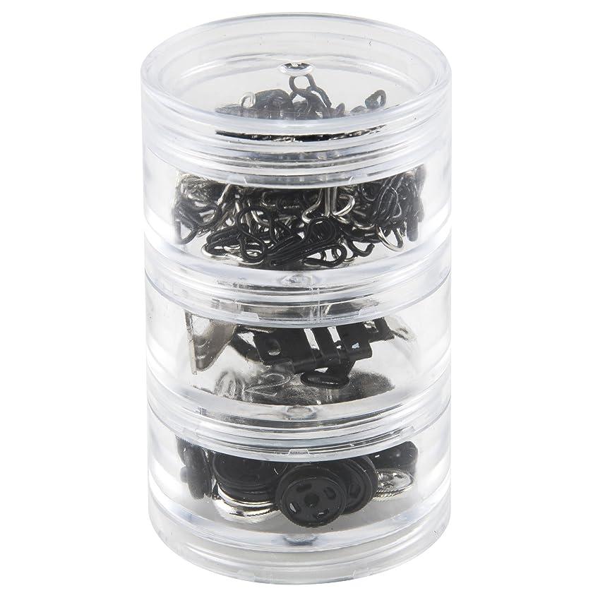 SINGER 07400 Fastener Variety-Pack in Stackable Screw Top Container - 48 Hook & Eyes, 24 Sew-On Snaps, 6 Hook & Bars