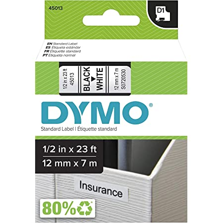 """DYMO Authentic D1 Label l DYMO Labels for LabelManager, COLORPOP and LabelWriter Duo Label Makers, Great for Organization, Indoor and Outdoor Use, ½"""" (12mm), Black Print on White Tape, Water Resistant"""