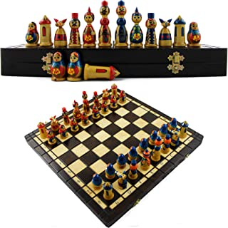 Wooden Chess Set - Chess Set for Kids and for Adults - Chess Matryoshka Dolls