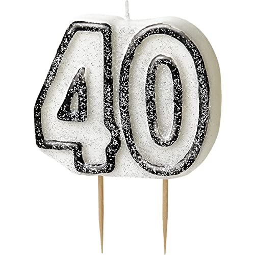 BLING Party Decorations And Tableware For 40th Birthday In BLACK SILVER Glitz Candle
