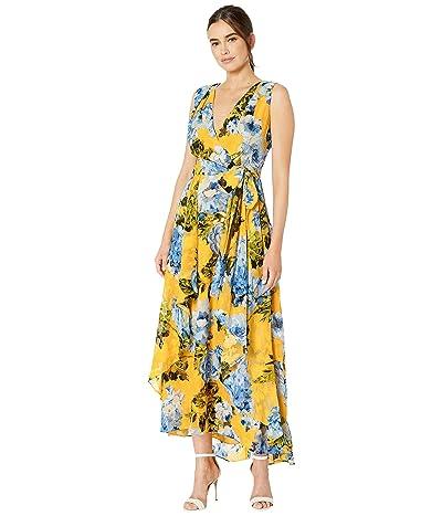 Tahari by ASL Floral Print Wrap Maxi Dress (Divine Floral Yellow) Women