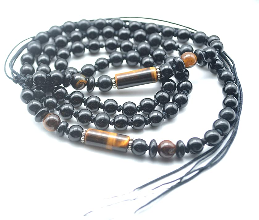 Catotrem Column Gemstone Tiger Eye Stone Beads Strand with Black Beads for Jewelry Pendant Making 13