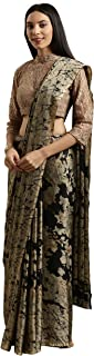 Womanista Women's Crepe with Blouse Piece 7510 Sarees (TKIM807_Black & Beige_Free Size)