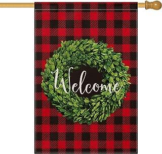 AVOIN Christmas Boxwood Wreath Welcome House Flag Vertical Double Sided, Winter Buffalo Check Plaid Rustic Farmhouse Burlap Flag Yard Outdoor Decoration 28 x 40 Inch