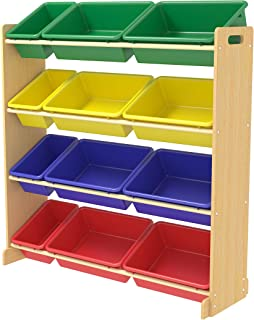 CLASS Kids' Toy Storage Organizer with 12 Plastic Bins, Large (Multi Color)