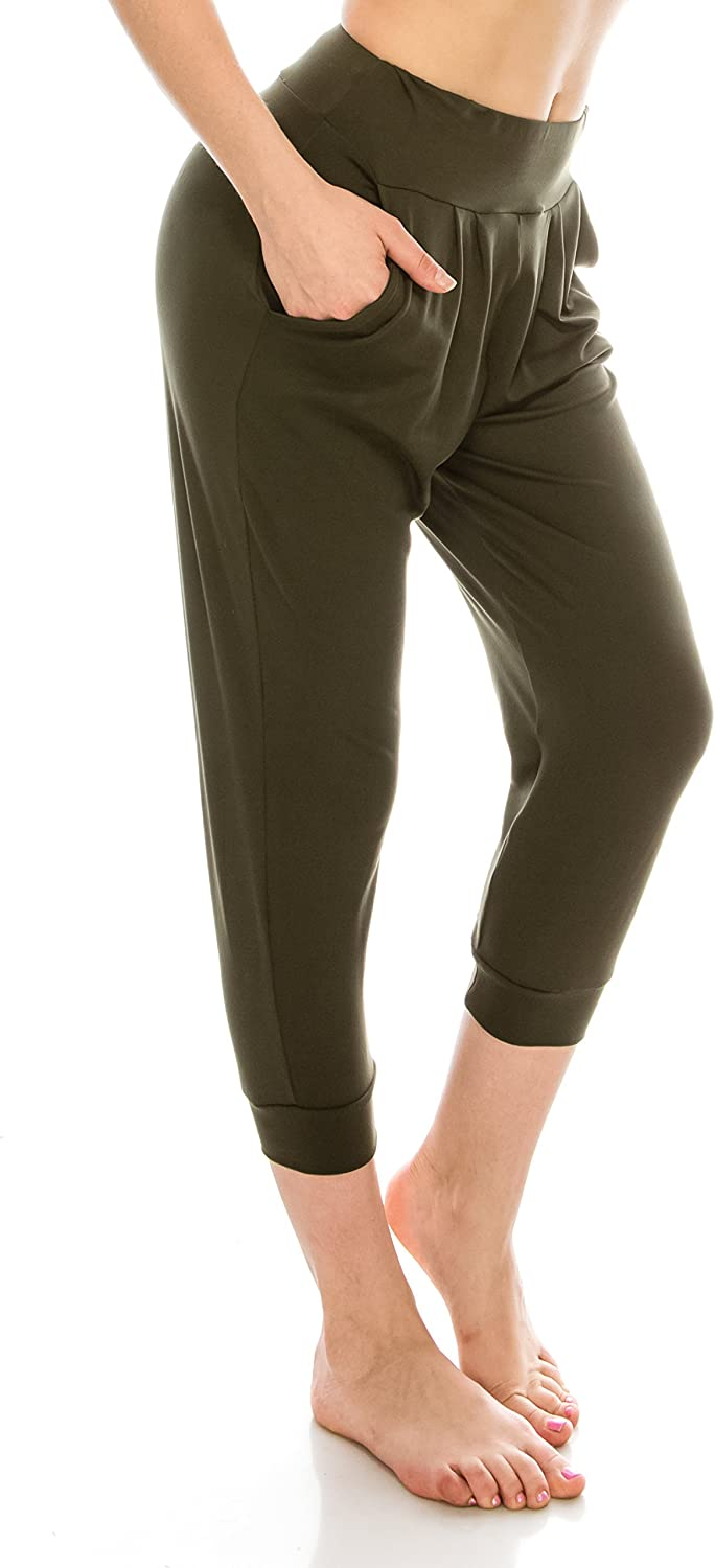 EttelLut Loose Fit Harem Jogger PantsCasual Yoga Exercise with Side Pockets
