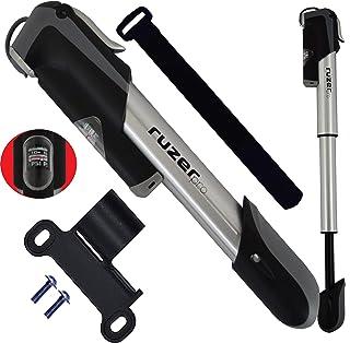 RUZER TELESCÓPICO Mini bomba de bicicleta de aleación de 7 pulgadas de calibre – Compatible con Presta Schrader (válvula reversible) 140 PSI 9,7 barril extensible – Portátil compacto fácil