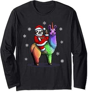 Santa Sloth Riding Llama Unicorn Christmas Long Sleeve Shirt