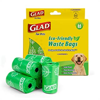 GLAD Eco Friendly Dog Waste Bags | 8 Rolls of Lavender Scented Dog Waste Bags, 120 Bags in Total | Earth Friendly Dog Wast...