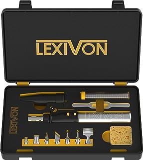 LEXIVON Butane Soldering Iron Multi-Purpose Kit | Cordless Self-Igniting Adjustable Flame 7-Tip Set | Pro Grade 125-Watt E...