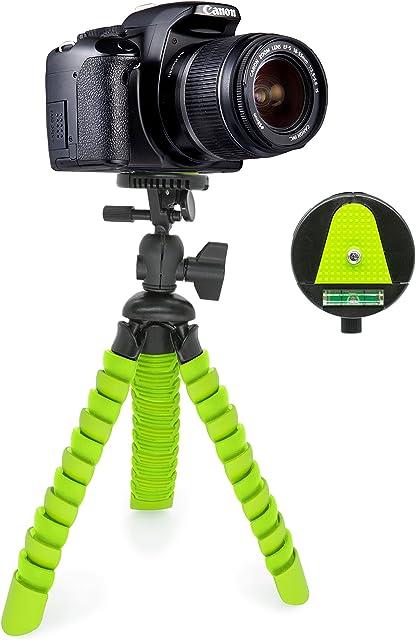 MyGadget Mini Trípode Ultra Flexible Portatíl para Cámara Reflex con Liberación rápida de Placa - Montaje Universal 360° con Base de Soporte Pulpo - Verde
