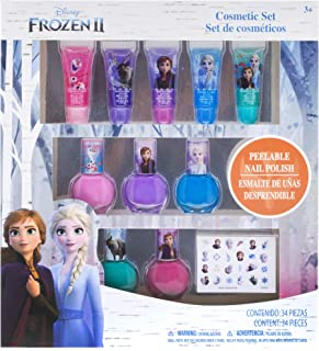 Townley Girl Disney Themed Super Sparkly Cosmetic Set with Lip Gloss, Nail Polish and Nail Stickers (Frozen)