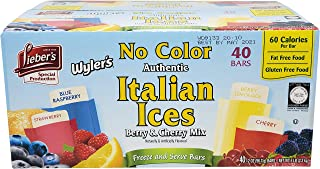 Lieber's Wyler's Italian Ices Berry & Cherry Mix, No Food Coloring, Kosher, Gluten-Free, Fat-Free Italian Ices, 80 Ounce Box (2 Oz Bars, Total of 40 Bars)