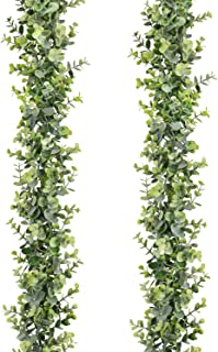 Artiflr 2 Pcs Faux Eucalyptus Garland, Artificial Vines Fake Eucalyptus Greenery Garland Wedding Backdrop Arch Wall Table Party Decor, 6 Feet/pcs Fake Hanging Plant Large Eucalyptus Leaves.