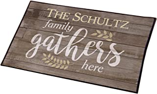"""GiftsForYouNow Water-Resistant Family Gathers Here Personalized Doormat, 18"""" x 30"""""""