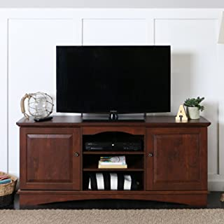 Walker Edison Traditional Wood Universal Stand with Storage Cabinet for TV's up to 75