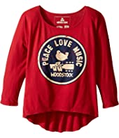 The Original Retro Brand Kids - Woodstock/Peace and Love 3/4 Dolman Tee (Big Kids)