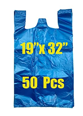 ROYAL 7 50CT Jumbo/Extra Large Plastic Grocery Reusable T-shirts Carry-out 19x10x32 Bags (BLUE, 50)
