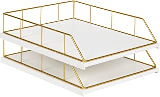 Kate and Laurel Benbrook Stacked Metal and Wood Letter Trays, White and Gold