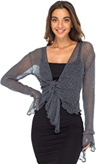 Womens Sheer Shrug Bolero Long Sleeves Cropped Cardigan Lite Bell Sleeves