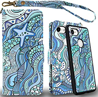 Mefon Google Pixel 3 Case Wallet Leather Detachable, with Tempered Glass and Wrist Strap, Enhanced Magnetic Closure, Card Slot, Kickstand, Durable Slim, Flip Folio Cases for Pixel 3 (Starfish Ocean)