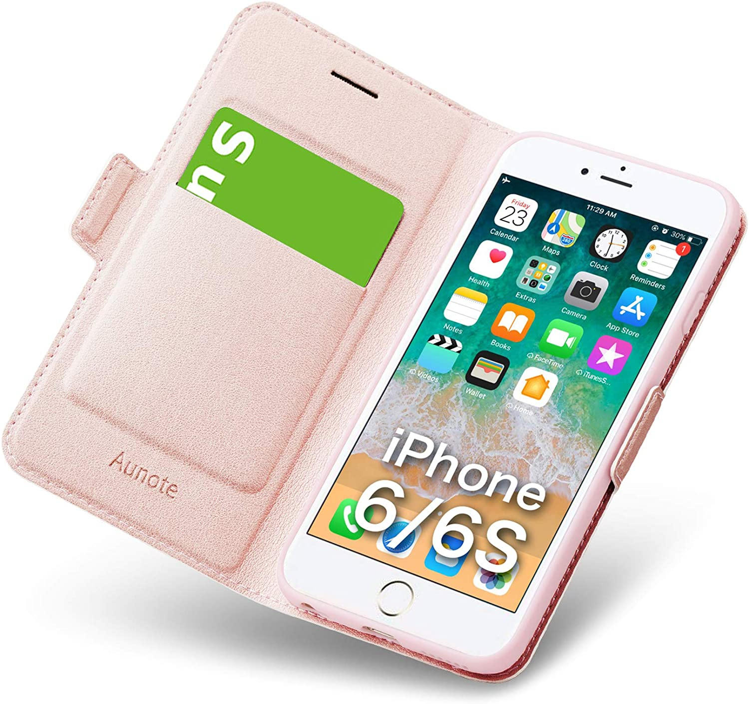 Aunote iPhone 6 Wallet Case, iPhone 6s Flip Case with Card Slot, Magnetic Closure and Kickstand, Soft TPU+Slim PU Leather Folio Phone Cover Full Protection for Apple iPhone 6/6s. Rose Gold