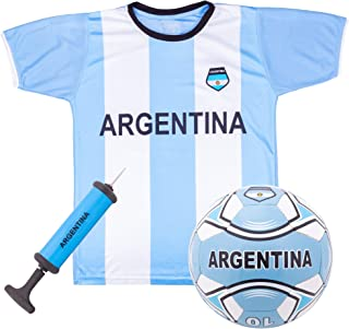 Argentina National Team Kids Soccer Kit | Includes Jersey, Shorts, and Soccer Ball | Blue and White Design | World Cup Youth Attire | Premium Gift for Soccer/Football Fans