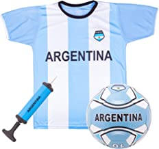 Argentina National Team Kids Soccer Kit   Includes Jersey, Shorts, and Soccer Ball   Blue and White Design   World Cup Youth Attire   Premium Gift for Soccer/Football Fans