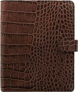 Filofax Classic Croc Print Leather Organizer Agenda Calendar with DiLoro Jot Pad Refills (A5, Chestnut 2019, 026017)
