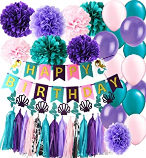 Mermaid Party Supplies Mermaid Teal Purple Pink Latex Ballons Tissue Pom Pom Teal Purple Happy Birthday Banner with Glitter Gold Letters Tassel Garland Mermaid/Under The Sea Birthday Decorations
