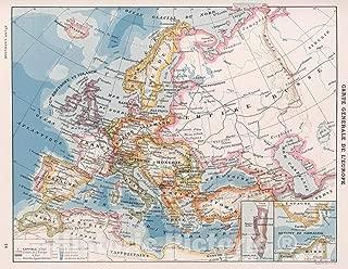 Historic Map - World Atlas Map, Carte Generale de l'Europe. 1900 - Vintage Wall Art - 44in x 34in
