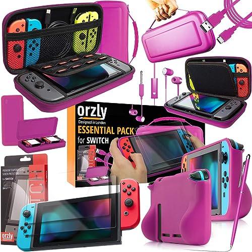 Switch Accessoires, Orzly Ultimate Pack pour Nintendo Switch [Pack Comprenant: Protecteurs d'écran en Verre Trempé, H...